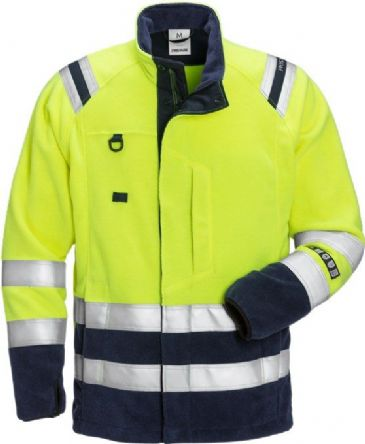 Fristads Flamestat High Vis Fleece Jacket CL 3 4063 ATF (Hi Vis Yellow/Navy)